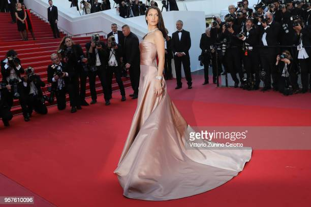 Bella Hadid attends attend the screening of 'Ash Is The Purest White ' during the 71st annual Cannes Film Festival on May 11, 2018 in Cannes, France.