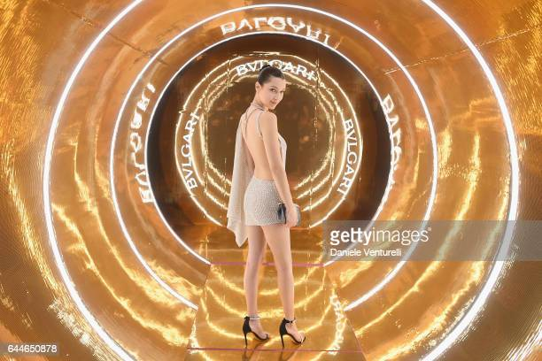Bella Hadid attends Bulgari Dinner Party during Milan Fashion Week Fall/Winter 2017/18 on February 23 2017 in Milan Italy