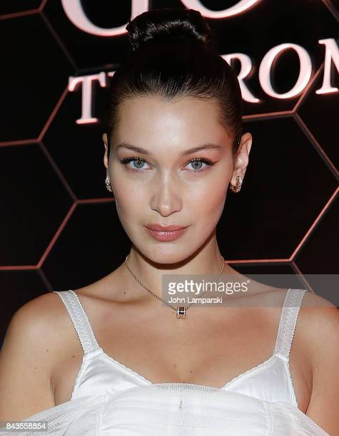 Bella Hadid attends Bulgari 'Goldea The Roman Night' fragrance launch party at 1 Hotel Brooklyn Bridge on September 6 2017 in the Brooklyn borough of...