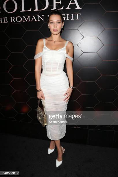 Bella Hadid attends Bulgari Goldea The Roman Night Fragrance Launch Party at The 1 Rooftop on September 6 2017 in the Brooklyn borough of New York...