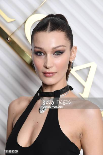 Bella Hadid attends BVLGARI - Dinner Party - Milan Fashion Week FW19 on February 22, 2019 in Milan, Italy.