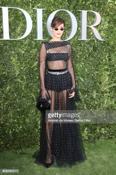 Bella Hadid attends 'Christian Dior couturier du reve' Exhibition Launch celebrating 70 years of creation at Musee Des Arts Decoratifs on July 3 2017...