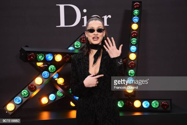 Bella Hadid attends Dior Homme Menswear Fall/Winter 20182019 show as part of Paris Fashion Week at Grand Palais on January 20 2018 in Paris France