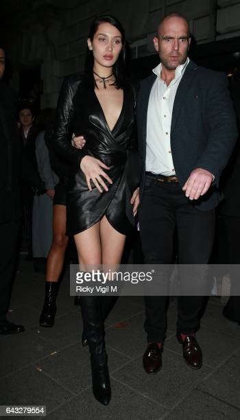 Bella Hadid attends LFW a/w 2017 Love Me 17 X Burberry party at Annabel's on Day 4 of London Fashion Week February 2017 on February 20 2017 in London...