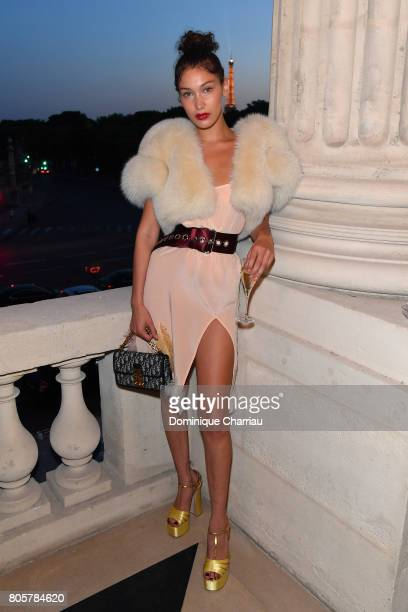 Bella Hadid attends Miu Miu Cruise Collection cocktail party as part of Haute Couture Paris Fashion Week on July 2 2017 in Paris France