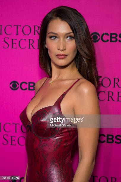 Bella Hadid attends the 2017 Victoria's Secret Fashion Show viewing party pink carpet at Spring Studios on November 28 2017 in New York City
