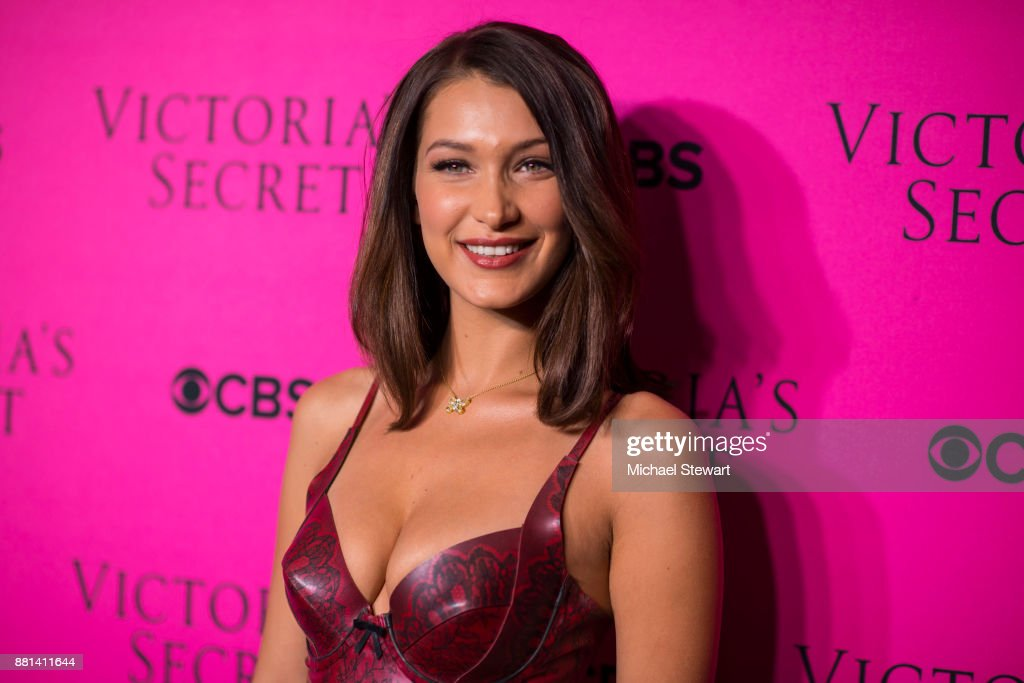 Bella Hadid attends the 2017 Victoria's Secret Fashion Show viewing party pink carpet at Spring Studios on November 28, 2017 in New York City.