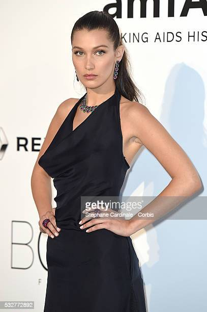 Bella Hadid attends the amfAR's 23rd Cinema Against AIDS Gala at the annual 69th Cannes Film Festival at Hotel du CapEdenRoc on May 19 2016 in Cap...