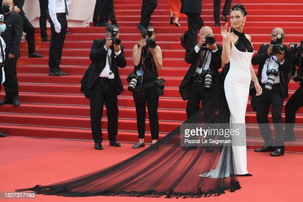 """Bella Hadid attends the """"Annette"""" screening and opening ceremony during the 74th annual Cannes Film Festival on July 06, 2021 in Cannes, France."""