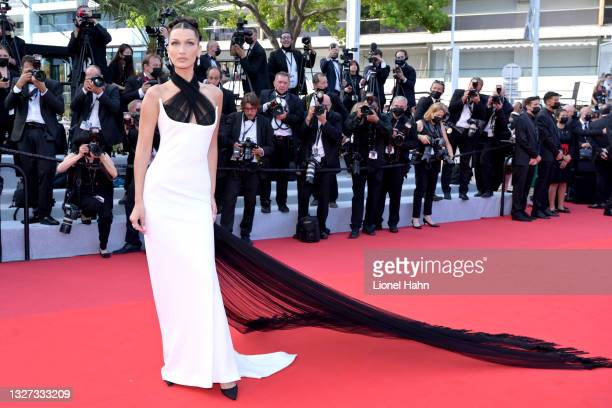 """Bella Hadid attends the """"Annette"""" screening and opening ceremony during the 74th annual Cannes Film Festival on July 6, 2021 in Cannes, France."""