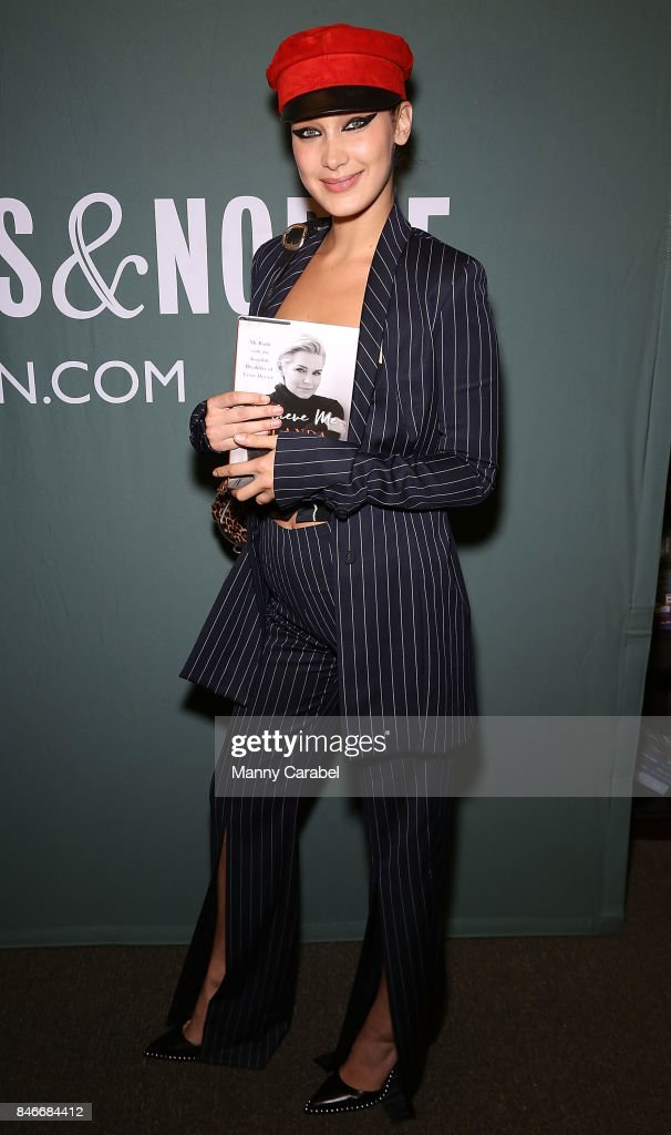 Bella Hadid attends the book signing of her mother Yolanda Hadid's new book 'Believe Me: My Battle with the Invisible Disability of Lyme Disease' at Barnes & Noble Tribeca on September 13, 2017 in New York City.
