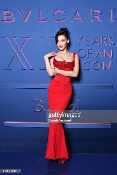 Bella Hadid attends the Bvlgari BZERO1 XX Anniversary Global Launch Event at Auditorium Parco Della Musica on February 19 2019 in Rome Italy