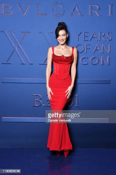 Bella Hadid attends the Bvlgari - B.ZERO1 XX Anniversary Global Launch Event at Auditorium Parco Della Musica on February 19, 2019 in Rome, Italy.