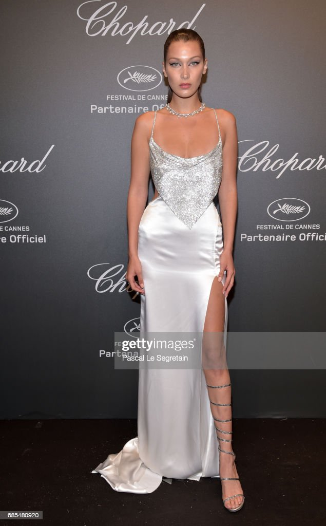 "Bella Hadid attends the Chopard ""SPACE Party"", hosted by Chopard's co-president Caroline Scheufele and Rihanna, at Port Canto on May 19, 2017, in Cannes, France."
