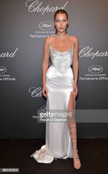 "Bella Hadid attends the Chopard ""SPACE Party"", hosted by Chopard's co-president Caroline Scheufele and Rihanna, at Port Canto on May 19 in Cannes,..."
