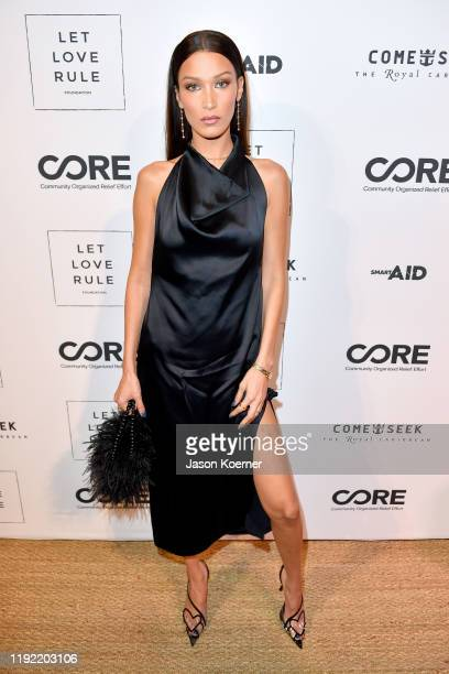 Bella Hadid attends the Core x Let Love Rule Benefit during Art Basel Miami 2019 on December 05, 2019 in Miami, Florida.