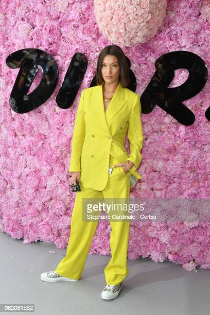 Bella Hadid attends the Dior Homme Menswear Spring/Summer 2019 show as part of Paris Fashion Week Week on June 23 2018 in Paris France