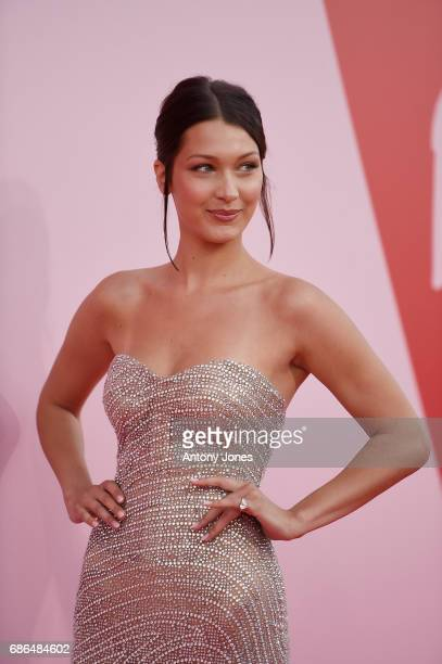 Bella Hadid attends the Fashion for Relief event during the 70th annal Cannes Film Festival at Aeroport Cannes Mandelieu on May 21 2017 in Cannes...
