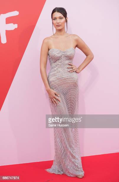 Bella Hadid attends the Fashion for Relief event during the 70th annual Cannes Film Festival at Aeroport Cannes Mandelieu on May 21 2017 in Cannes...