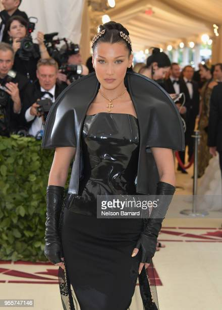 Bella Hadid attends the Heavenly Bodies Fashion The Catholic Imagination Costume Institute Gala at The Metropolitan Museum of Art on May 7 2018 in...