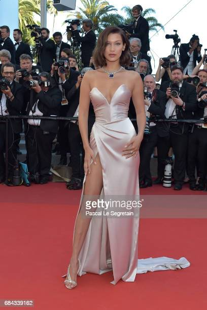 Bella Hadid attends the 'Ismael's Ghosts ' screening and Opening Gala during the 70th annual Cannes Film Festival at Palais des Festivals on May 17,...
