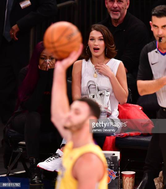Bella Hadid attends the Los Angeles Lakers Vs New York Knicks game at Madison Square Garden on December 12 2017 in New York City
