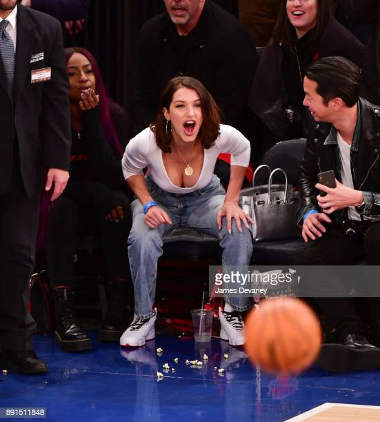 Bella Hadid attends the Los Angeles Lakers Vs New York Knicks game at Madison Square Garden on December 12, 2017 in New York City.