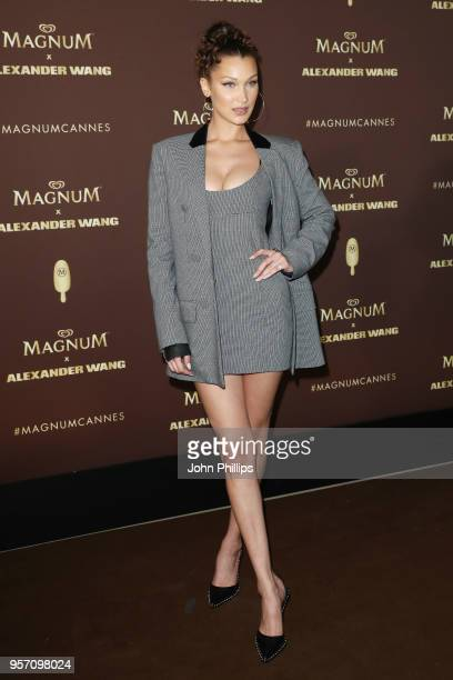 Bella Hadid attends the Magnum VIP Party during the 71st annual Cannes Film Festival at Magnum Beach on May 10 2018 in Cannes France