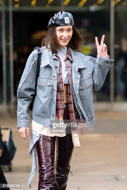 Bella Hadid attends the Michael Kors fashion show during New York Fashion Week at the Vivian Beaumont Theater at Lincoln Center on February 14 2018...