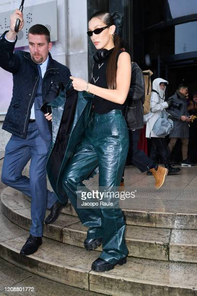 Bella Hadid attends the Mugler show as part of the Paris Fashion Week Womenswear Fall/Winter 2020/2021 on February 26, 2020 in Paris, France.