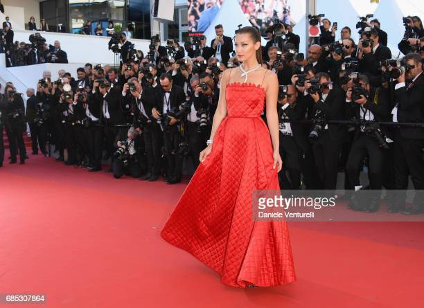 Bella Hadid attends the 'Okja' screening during the 70th annual Cannes Film Festival at Palais des Festivals on May 19 2017 in Cannes France