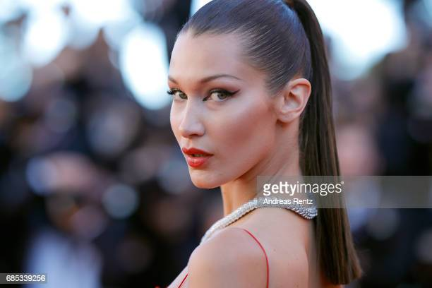 "Bella Hadid attends the ""Okja"" screening during the 70th annual Cannes Film Festival at Palais des Festivals on May 19, 2017 in Cannes, France."