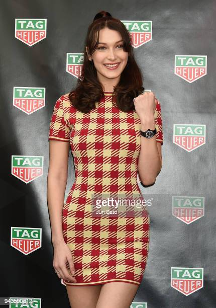 Bella Hadid attends the opening ceremony for Tag Heuer Ginza Boutique on April 9 2018 in Tokyo Japan