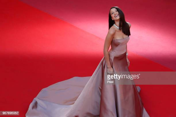 Bella Hadid attends the screening of Ash Is The Purest White during the 71st annual Cannes Film Festival at Palais des Festivals on May 11 2018 in...