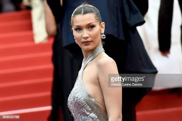 """Bella Hadid attends the screening of """"BlacKkKlansman"""" during the 71st annual Cannes Film Festival at Palais des Festivals on May 14, 2018 in Cannes,..."""