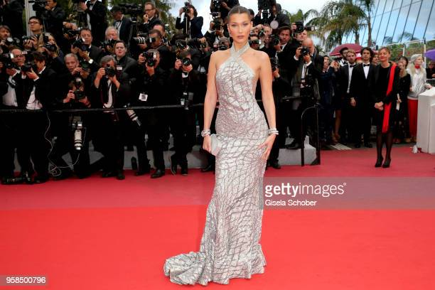 Bella Hadid attends the screening of 'Blackkklansman' during the 71st annual Cannes Film Festival at Palais des Festivals on May 14 2018 in Cannes...