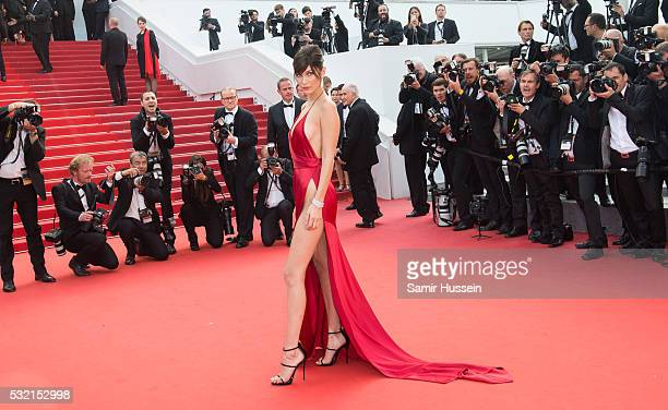 Bella Hadid attends the screening of The Unkown Girl at the annual 69th Cannes Film Festival at Palais des Festivals on May 18 2016 in Cannes France