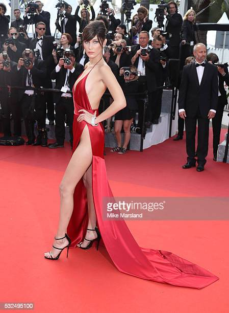 Bella Hadid attends the 'The Unkown Girl ' premiere during the 69th annual Cannes Film Festival at the Palais des Festivals on May 18 2016 in Cannes...