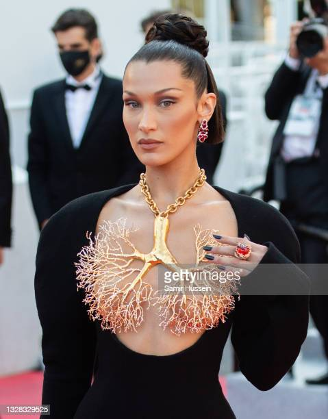 """Bella Hadid attends the """"Tre Piani """" screening during the 74th annual Cannes Film Festival on July 11, 2021 in Cannes, France."""
