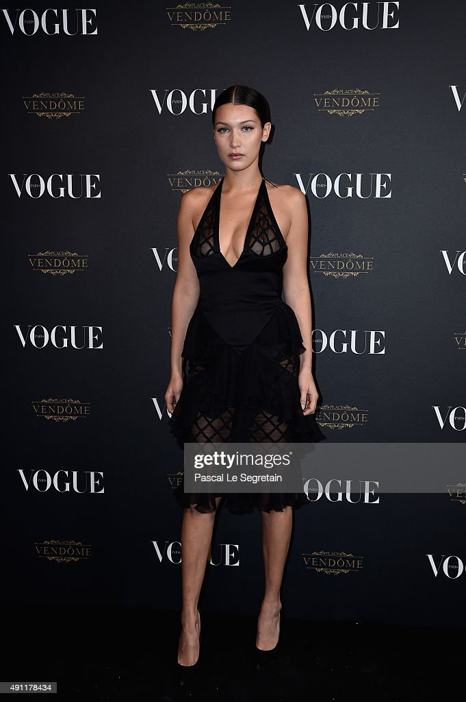 Bella Hadid attends the Vogue 95th Anniversary Party on October 3, 2015 in Paris, France.