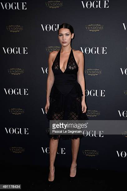 Bella Hadid attends the Vogue 95th Anniversary Party on October 3 2015 in Paris France