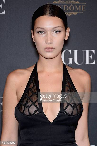 Bella Hadid attends the Vogue 95th Anniversary Party Photocall as part of the Paris Fashion Week Womenswear Spring/Summer 2016 on October 3 2015 in...