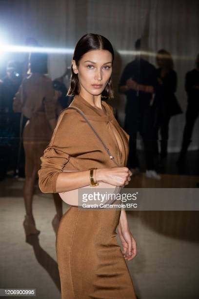 Bella Hadid backstage ahead of the Burberry show during London Fashion Week February 2020 on February 17, 2020 in London, England.