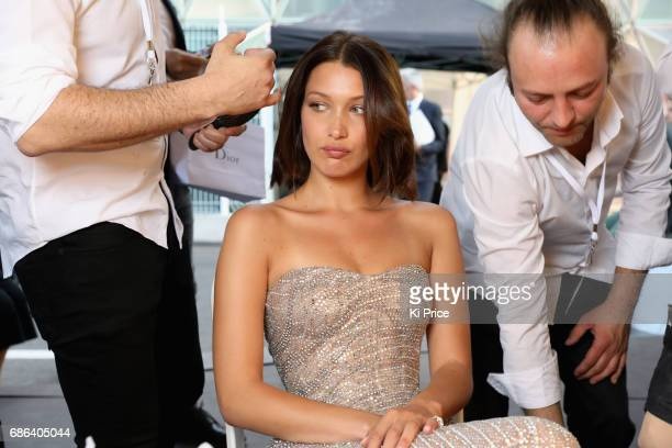 Bella Hadid backstage at the Fashion for Relief event during the 70th annual Cannes Film Festival at Aeroport Cannes Mandelieu on May 21 2017 in...