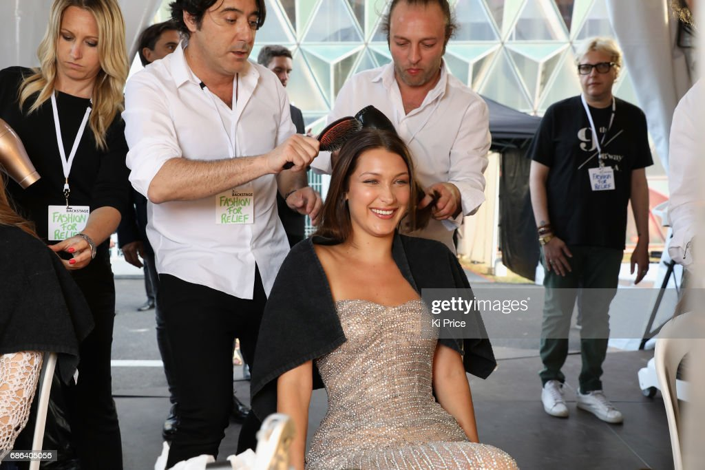 Bella Hadid backstage at the Fashion for Relief event during the 70th annual Cannes Film Festival at Aeroport Cannes Mandelieu on May 21, 2017 in Cannes, France.