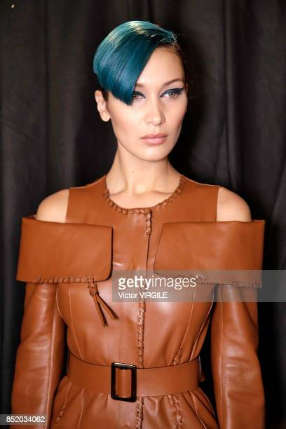 Bella Hadid backstage at the Fendi Ready to Wear Spring/Summer 2018 fashion show during Milan Fashion Week Spring/Summer 2018 on September 21 2017 in...