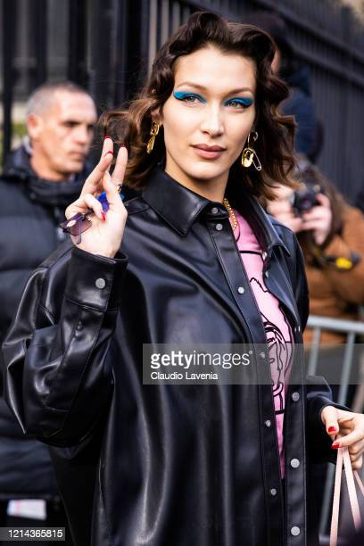 Bella Hadid, beauty detail, is seen outside Miu Miu, during Paris Fashion Week - Womenswear Fall/Winter 2020/2021 : Day Nine on March 03, 2020 in...