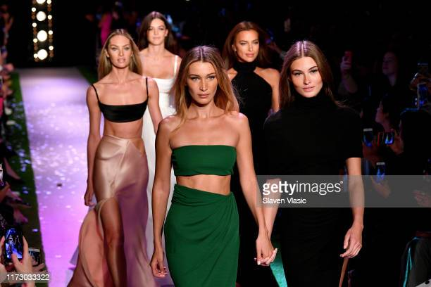 Bella Hadid, Candice Swanepoel, and Irina Shayk walk the runway for Brandon Maxwell during New York Fashion Week: The Shows on September 07, 2019 in...