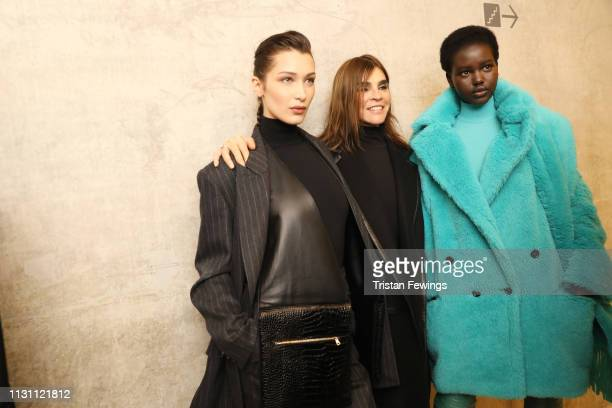 Bella Hadid Carine Roitfeld and Adut Akech are seen backstage ahead of the Max Mara show at Milan Fashion Week Autumn/Winter 2019/20 on February 21...