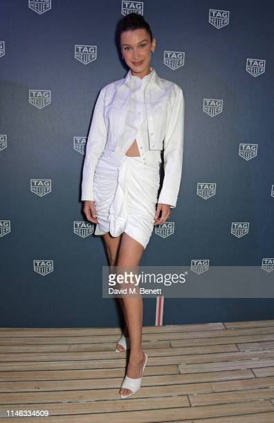Bella Hadid celebrates 50 years of the Monaco watch at the TAG Heuer Yacht Party on May 25, 2019 in Monaco.